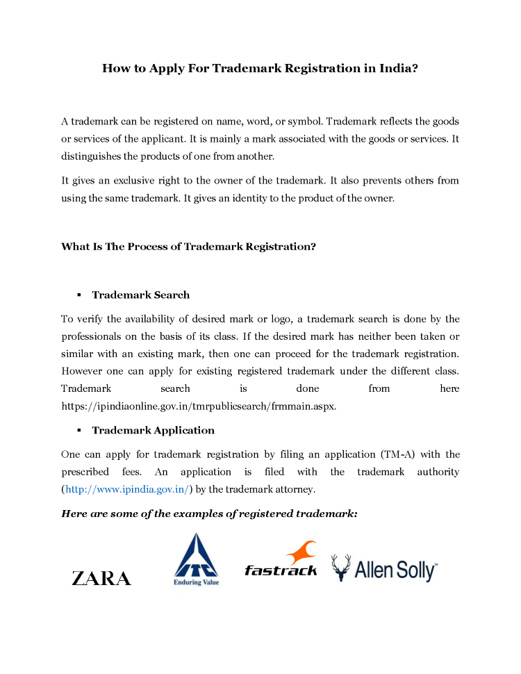 How To Process For Trademark Registration In India Authorstream