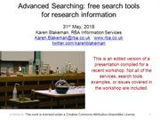 Advanced Searching: free tools for research information