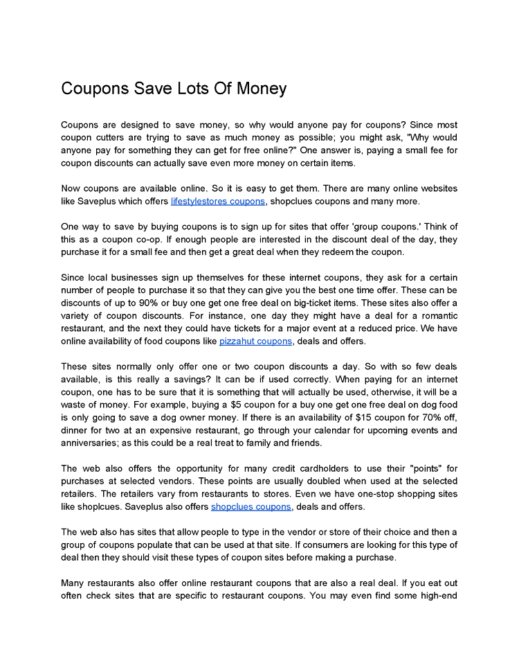 Coupons Save Lots Of Money Authorstream
