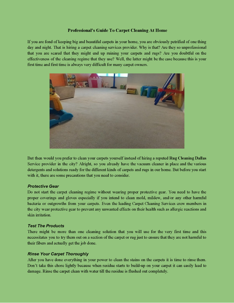 Professional's Guide To Carpet Cleaning At Home