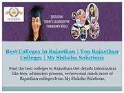 Best Colleges in Rajasthan | Top Rajasthan Colleges
