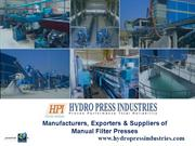 Manual Filter Press Manufacturers