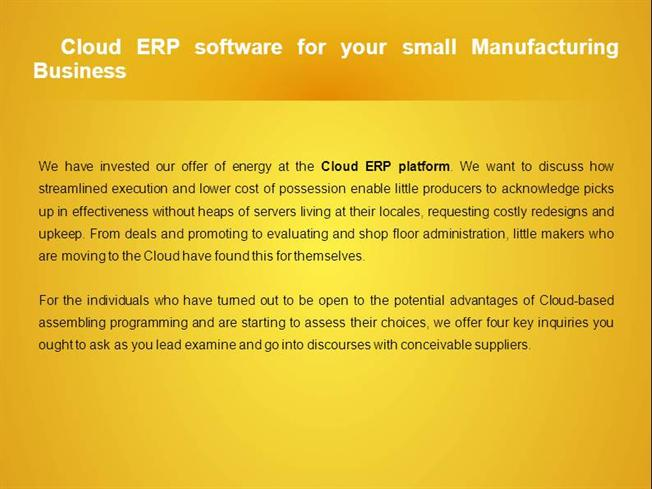 Cloud ERP Software for Your Small Manufacturing Business