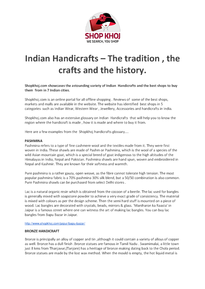 Indian Handicrafts – the Tradition , the Crafts And the
