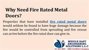 Need Fire Rated Metal Doors
