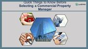 Quick Things to Know Before Selecting a Commercial Property Manager