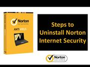 Steps to Uninstall Norton Internet Security