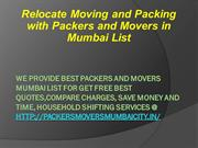Relocate Moving and Packing with Packers and Movers in Mumbai List