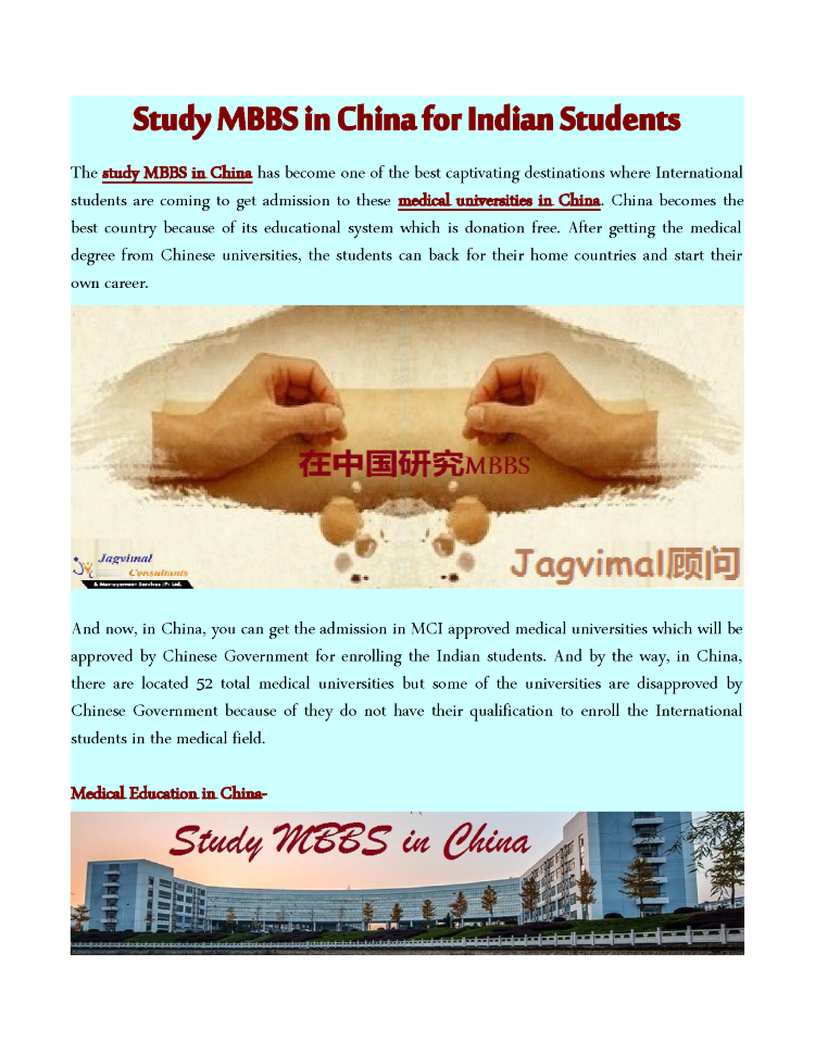 Study MBBS in China for Indian Students  authorSTREAM