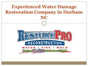 Experienced Water Damage Restoration Company in Durham NC
