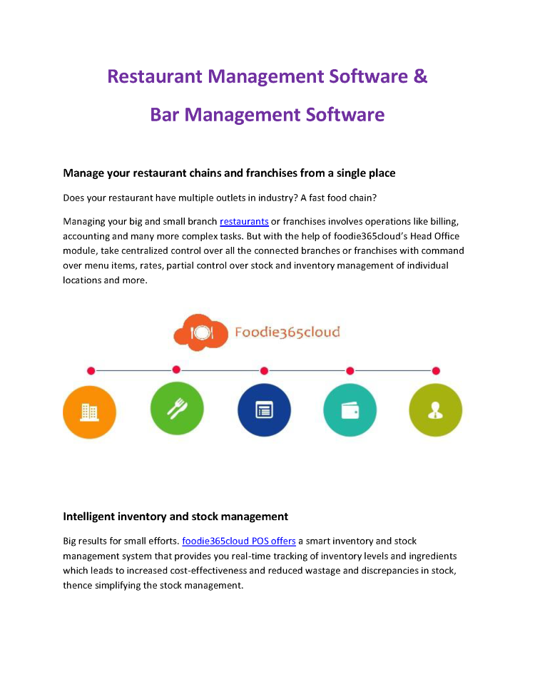 Restaurant Management Software Bar Management Software