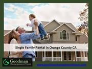 Single Family Rental in Orange County CA