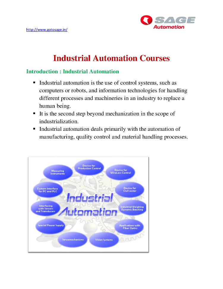 Best Industrial Automation Training in Thane Mumbai  Sage