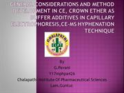 General Considerations And Method Development In CE,