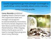 Accepting Donations for Charities in south Africa-  conny mametja,