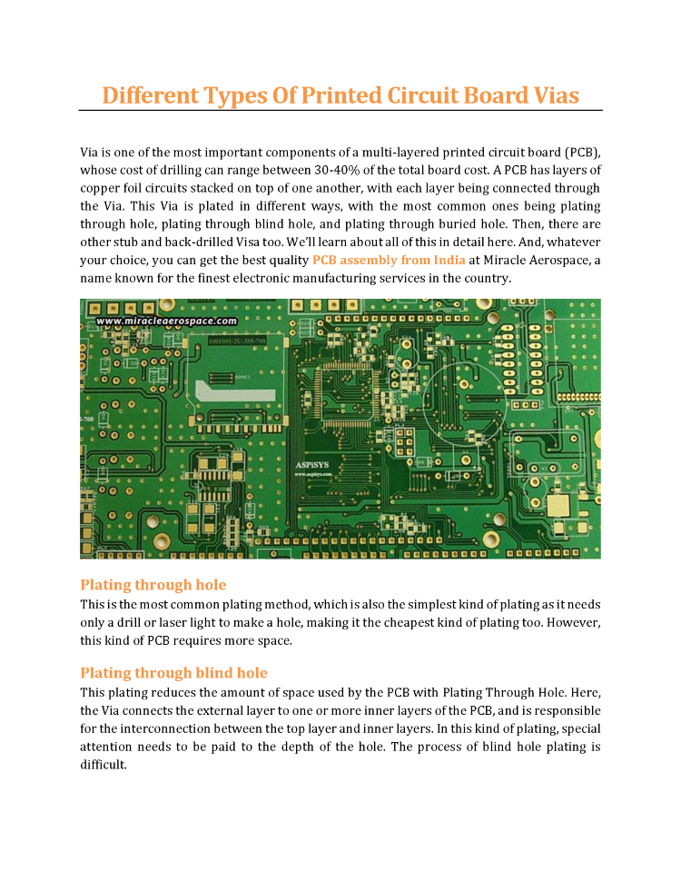 different types of printed circuit board vias miracle aerospace