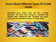 Know About Different Types Of Credit Cards
