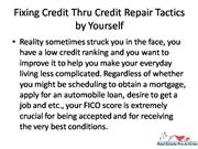 Fixing Credit Thru Credit Repair Tactics