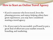 Start an Online Travel Agency