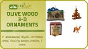 Olive Wood 3D Ornaments for Sale