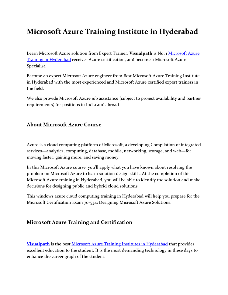 Microsoft Azure Training Institute In Hyderabad Authorstream