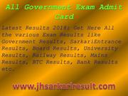 All Government Exam Admit Card
