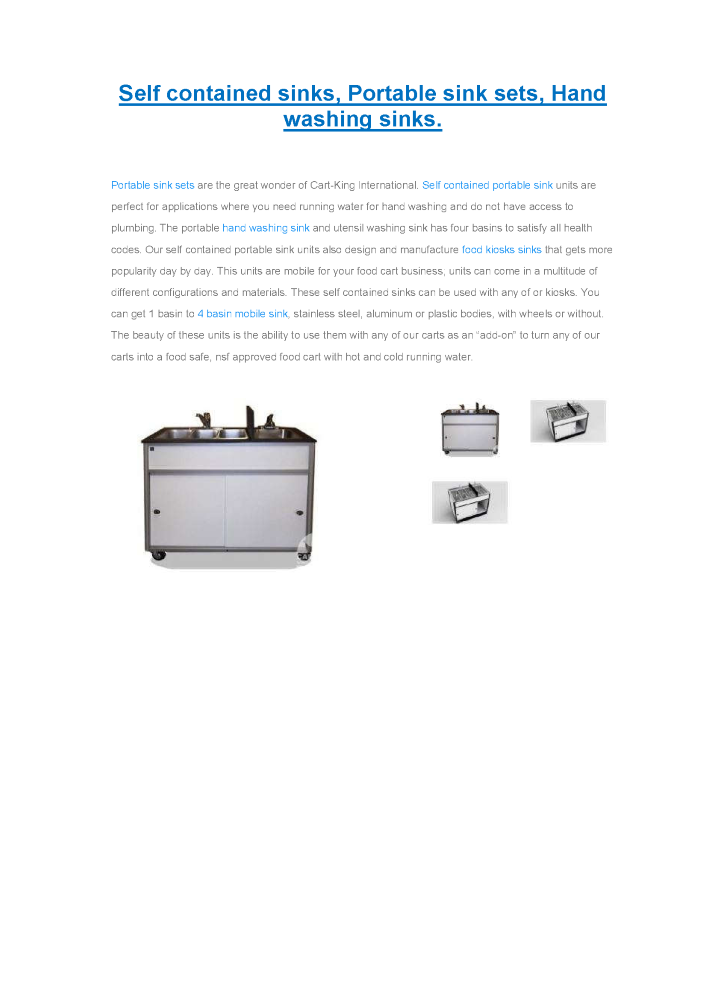 Self Contained Sinks, Portable Sink Sets, Hand Washing Sinks