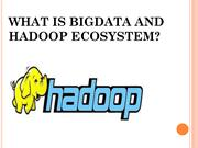 WHAT IS BIGDATA AND HADOOP ECOSYSTEM