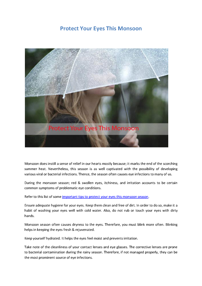 Protect Your Eyes this Monsoon |authorSTREAM