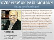 The Sales Professional Paul McMann | Overview