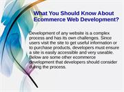 What You Should Know About Ecommerce Web Development