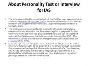 About Personality Test or Interview for IAS