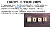 6 Budgeting Tips for college students