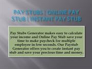 Pay Stubs Generator | Online Paystub | Instant Pay Stub