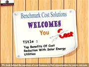 Top Benefits Of Cost Reduction With Solar Energy Utilities