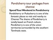 Pondicherry tour packages from chennai