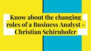 Christian Schirnhofer : optimistic and knowledgeable business analyst