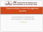 Opportunities in Hotel Management Careers