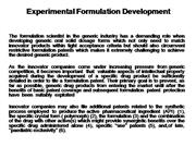 Generic Formulation development
