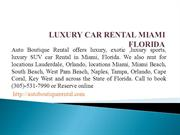 luxury Car Rental Miami,FLorida