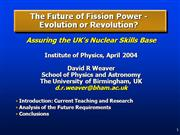 The Future of Fission Power