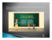 Samples for formal and Informal letters – Letter Writing - Class 8 Eng