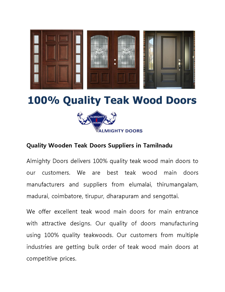 100 Quality Wooden Teak Doors Suppliers In Tamilnadu