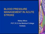BLOOD PRESSURE MANAGEMENT IN ACUTE STROK