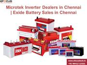 Microtek Inverter Dealers in Chennai | Exide Battery Sales in Chennai