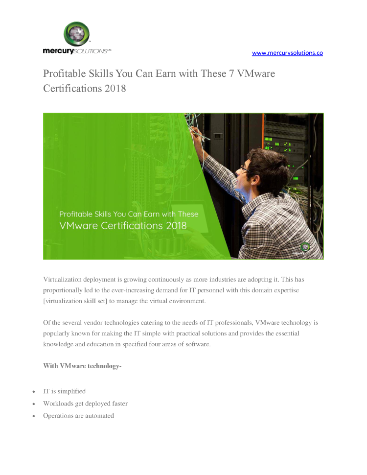 Profitable Skills You Can Earn With These 7 Vmware Certifications