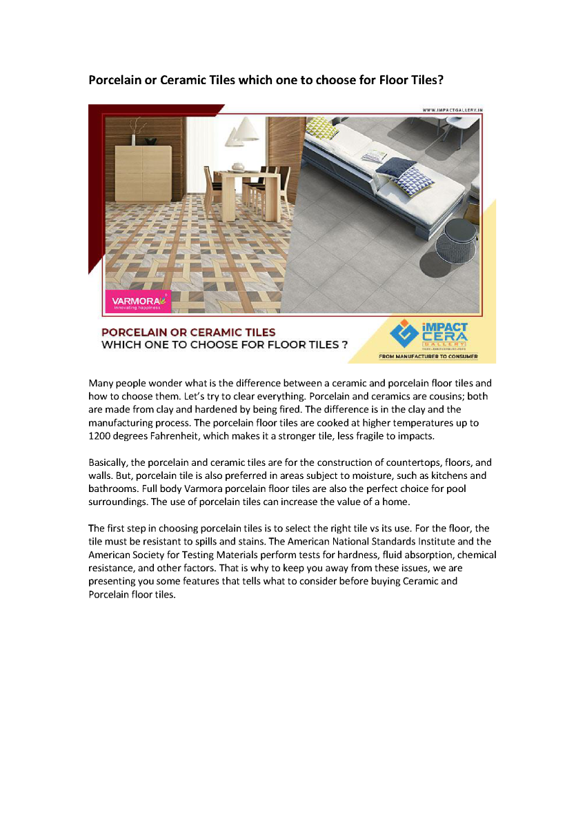 Porcelain or Ceramic Tiles Which One to Choose for Floor Tiles