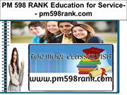 PM 598 RANK Education for Service-- pm598rank.com