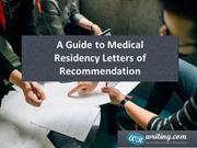 A Guide to Medical Residency Letters of Recommendation
