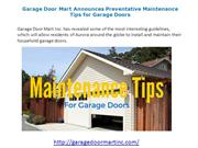 Preventative Maintenance Tips for Garage Doors by Garage Door Mart